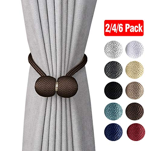 4 Pack Magnetic Curtain Tiebacks Decorative Curtain Holdbacks Rope Holdbacks Convenient Drape Tie Backs for Thick Sheer Curtains Light Weight Drapes Outdoor and Indoor Curtains Beige, 16 Inch Long