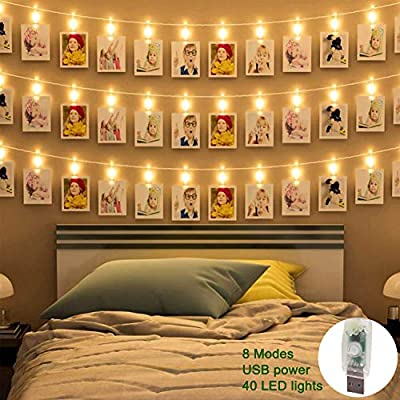 Led Photo Clip Lights 40 Pcs Led Picture Lights Usb Powered Bedroom Decoration Lights Twinkling Fairy String Lights Home Wall Christmas Room Birthday Party Wedding Decoration Indoor Light Warm White Amazon Co Uk Lighting