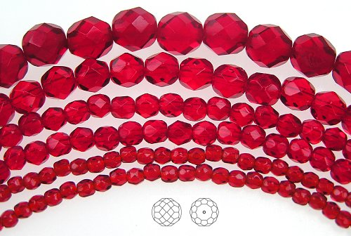 4mm (102) Light Siam, Czech Fire Polished Round Faceted Glass Beads, 16 inch strand