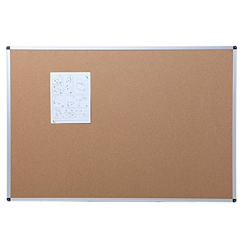 VIZ-PRO Cork Notice Board, 48 X 36 Inches, Silver Aluminium - Board Cork Magnetic