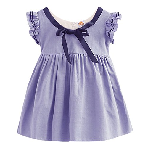 LittleSpring Toddler Girls Ruffled Sleeve Party Dress Sleeveless Spring Top Purple Size 4T