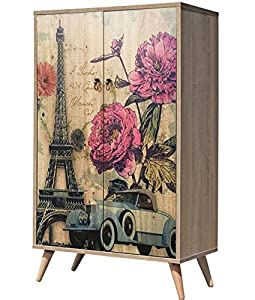 Maison du Design Wardrobe Rose Wardrobe, Oak/Fantasia