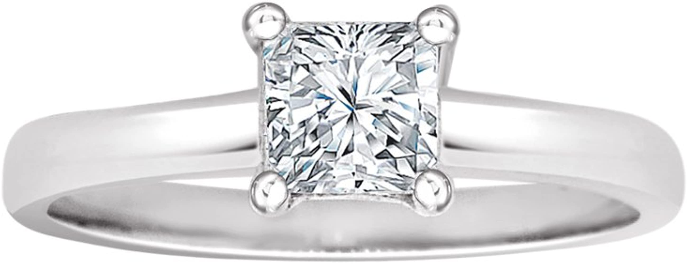 14k White Gold Solitaire Lady Engagement Ring Princess Cut Created Cz Crystals 5mm 0 75ct Amazon Com