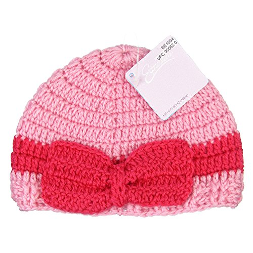Expressions Baby Girl Beanie Hat Soft and Warm Comfortable Crochet Bow (Sf Costume Store)