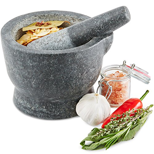 -[ Andrew James Premium Solid Granite Pestle and Mortar, Spice and Herb Crusher with Spout for Easy