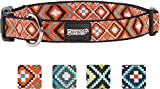 """Friends Forever Dog Collar for Dogs - Fashion Woven Square Pattern Cute Puppy Collar, Orange Large 18-26"""""""
