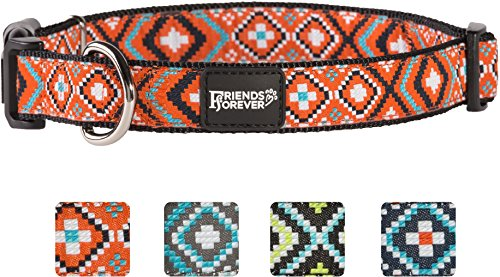 Friends Forever Double Layer Woven Square Pattern Dog Collar by, Orange Small 11-16