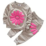 #8: Avidqueen Toddler Baby Girls Sunflower Clothes Set Long Sleeve Top and Pants 2pcs Outfits Fall Clothes