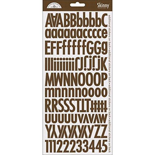 DOODLEBUG Skinny Cardstock Alpha Stickers, Bon - Alpha Stickers Doodlebug Cardstock