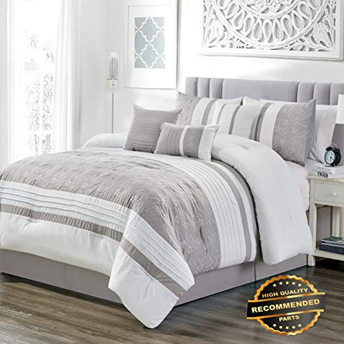Ellyly Premium New 7 Piece Bailey Taupe/White Comforter Set | Style CMFTR-120219454 | Queen