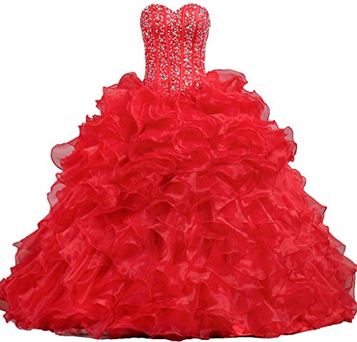 ANTS Women's Sweetheart Formal Quinceanera Dress Prom Gown Size 2 US Red