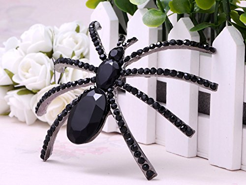 Alilang Large Jet Black Crystal Rhinestone Widow Spider Insect Bug Fashionable Pin Brooch by Alilang (Image #2)