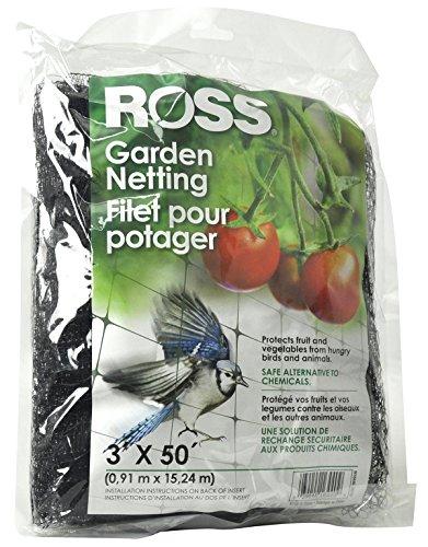 Ross Garden Netting (Multi-Use Netting for Use Around Yard and Garden) Black Mesh Plastic Netting, 3 feet x 50 feet (Trellis Plastic)