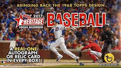 (2017 Topps Heritage Baseball High Number Hobby Box 24 Packs of 9 Cards; 1 Relic or Autograph plus)