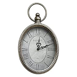 Stratton Home Decor Antique Silver Oval Wall Clock, 6.75 W X 1.75 D X 11.75 H,