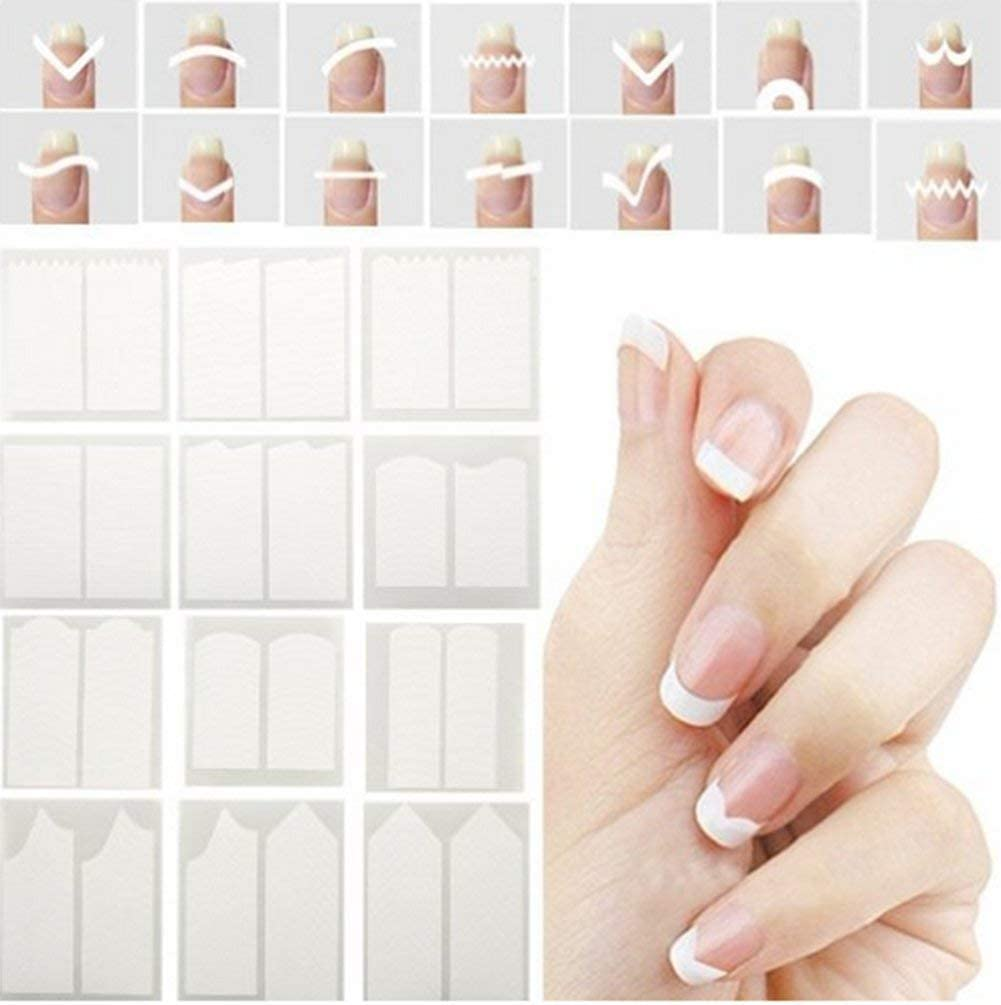 CINEEN Francés uñas Pegatinas Manicura Uñas Pegatinas de Smile línea guía línea guía pegatinas Nail Art Tips de maquillaje 24 pcs/Set