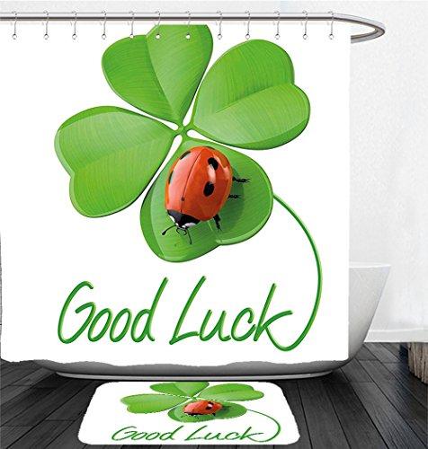London Red Heart Charm (Nalahome Bath Suit: Showercurtain Bathrug Bathtowel Handtowel Going Away Party Decorations Lucky Symbols Four Leaf Clover with Ladybug Irish Charm Green Red Black)