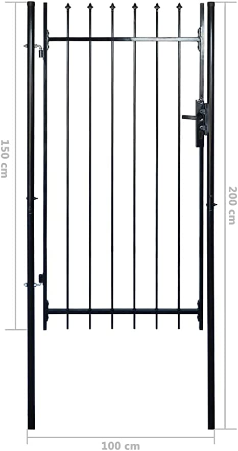 vidaXL Puerta Verja con Puntas en Forma de Lanzas Acero Negro Cancela Jardín: Amazon.es: Bricolaje y herramientas