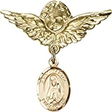 Gold Filled Baby Badge with St. Martha Charm and Angel w/Wings Badge Pin 1 1/8 X 1 1/8 inches