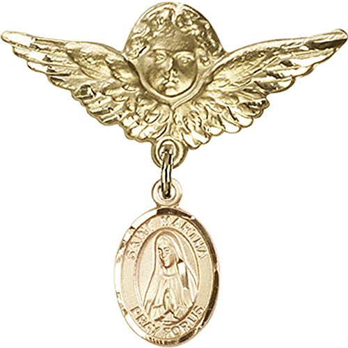 Gold Filled Baby Badge with St. Martha Charm and Angel w/Wings Badge Pin 1 1/8 X 1 1/8 inches by Unknown