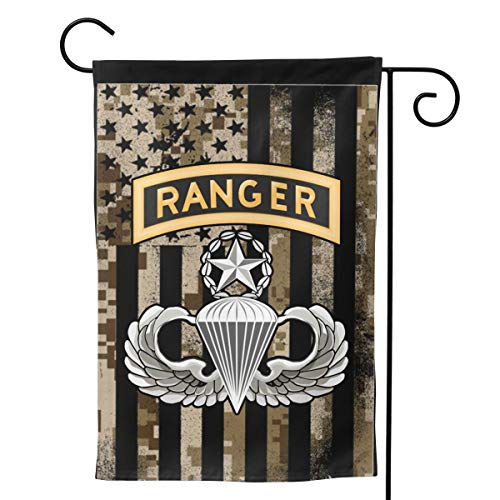 - JANLAGEJRFLAG Proud American Flag Master Parachutist with Ranger Tab License Garden Flags Holiday Outdoor Yard Flags