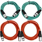 SEISMIC AUDIO - SAXLX-6-4 Pack of 6' XLR Male to XLR Female Patch Cables - Balanced - 6 Foot Patch Cord - Green and Red