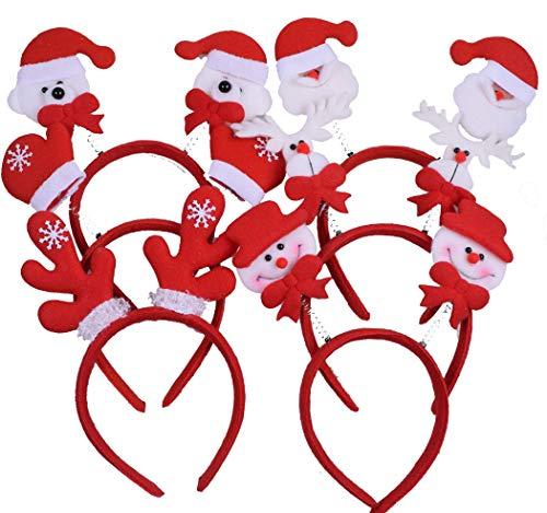 ADJOY Christmas Headband for Girls Boys and Women - Christmas Reindeer Antlers Headband Props (6 Pcs Mixed)