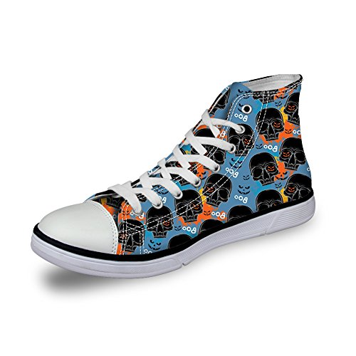 HUGS IDEA Vintage Womens Canvas High Top Lace Up Sneakers Skull 3 Jux7r7