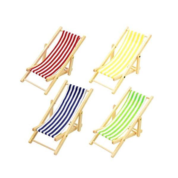 ZXYAN Sedia da Spiaggia Pieghevole in Legno in Miniatura con Accessori per mobili da Esterno a Strisce Blu/Rosso 2 spesavip