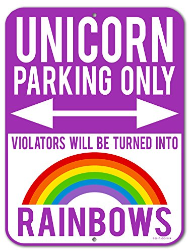 HDG Designs Unicorn Decor For Girls Room, Unicorn Parking Only Violators Will be Turned into Rainbows - Purple 9 x 12 inch Metal Aluminum Novelty Sign Funny Gifts - Made in the USA -