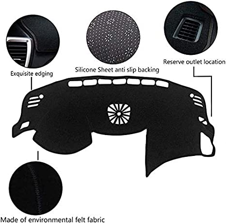 Yeeoy Dash Cover Leather Dashmat Covering Mat Carpet Pad Replacement for Altima 2014-2018 Black