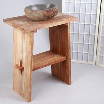 WOHNFREUDEN Waschtisch aus Teak-Holz ♥ 74 cm hoch - 60 cm lang ... | {Waschtischunterschrank holz 85}