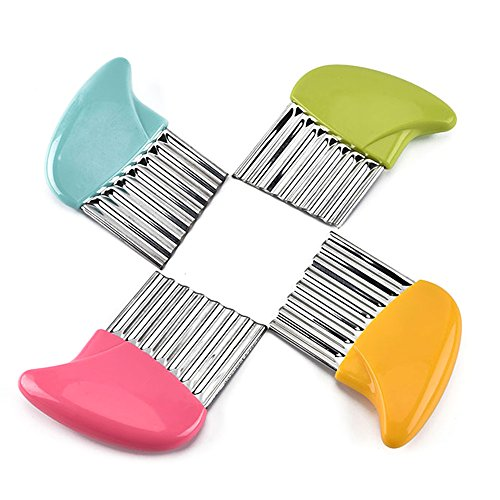 New-Hi Crinkle Cut Knife, Stainless Steel French Fries Cutter Fruit And Vegetable Wavy Chopper Knife Cutter Potato Chips Chipper Slicer-Pink by New-Hi (Image #4)