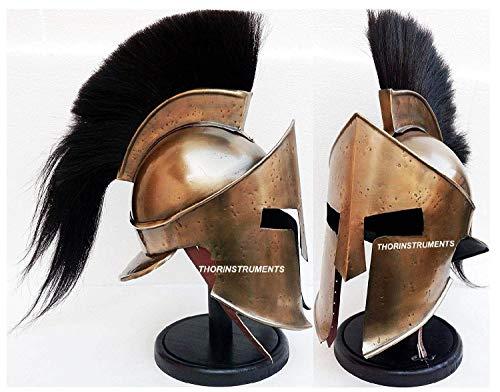 Medieval Armour KING LEONIDAS GREEK SPARTAN 300 Roman Helmet on Wooden Stand ()