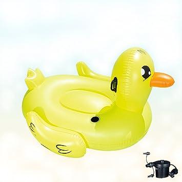 DMGF Gigante Piscina Inflable Flotador Pato Ocioso con Balsa/Portavasos/Asas Anillo De Natación Verano Agua Playa Deporte Juguete Ociosas Y Flotadores para ...