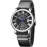 Cardqiou Watches for Men on Sale Leather Wrist Watch Black Men Watches