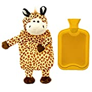 HomeTouch Hot Water Bottle Premium Hot Rubber Bag with Cute Soft Animal Cover ( 2 Liters - Giraffe)