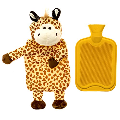 HomeTouch Hot Water Bottle Premium Hot Rubber Bag with Cute Soft Animal Cover ( 2 Liters - Giraffe) (Bottle And Ice Hot Water)