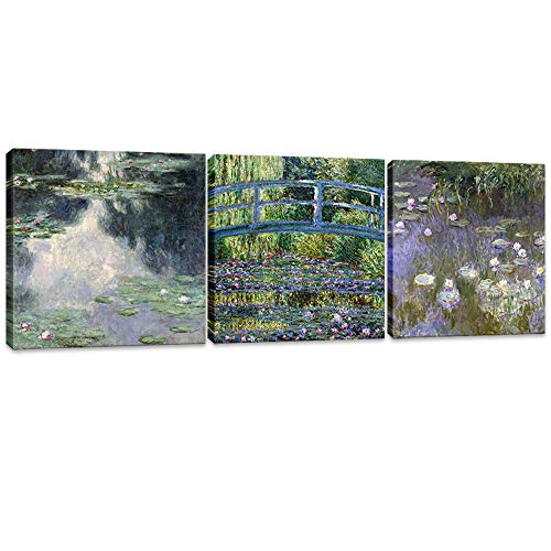 - Innopics Canvas Wall Art 3 Piece Bridge Water Lily Pond Giclee Print Artwork Claude Monet Impressionist Painting Reproduction Green Garden Classic Decoration Framed for Home Office Living Room Decor