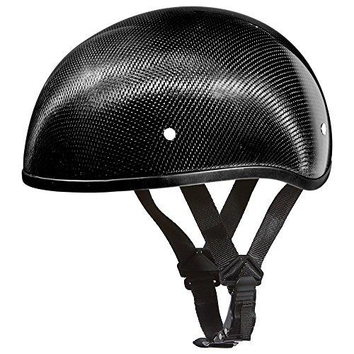 Daytona Helmets Carbon Fiber Slim Line Skull Cap Half Shell Helmet (X-Large) with Head Wrap and Draw String Bag