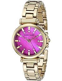 Womens AK/1622MMGB Swarovski Crystal Accented Magenta Dial Gold-Tone Bracelet Watch