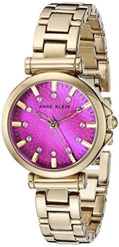 Anne Klein Women's AK/1622MMGB Swarovski Crystal Accented Magenta Dial Gold-Tone Bracelet Watch