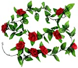 8.2ft Artificial Silk Rose Flower Ivy Vine Leaf Garland Wedding Party Home Decor,Red