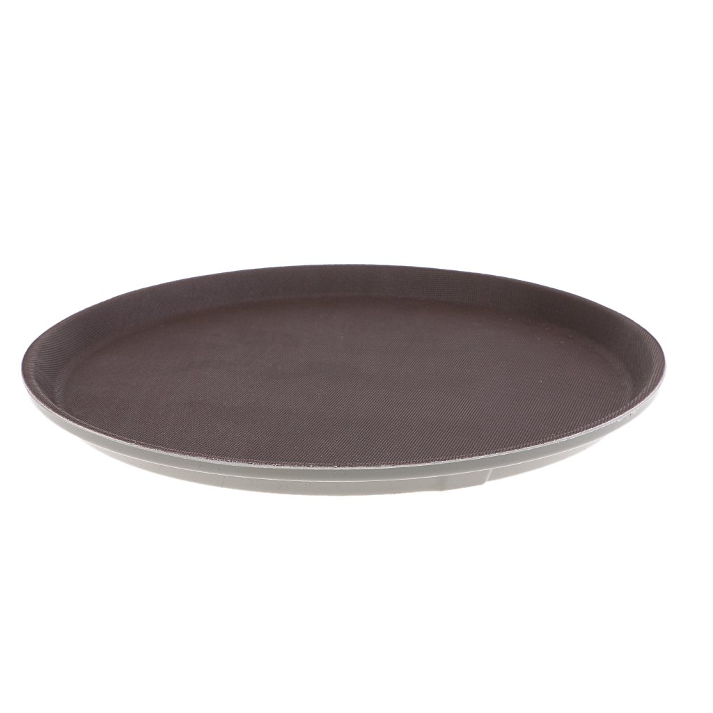 F Fityle Serving Fruit/Vegetables Tray Plastic Circular Shaped Cup Tray Brown Shown, 28cm