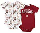 Houston Astros MLB Unisex Baby Infants 2 Pack Bodysuit Set, Brick Red / White