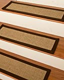 NaturalAreaRugs Melrose Sisal Carpet Stair Treads, Handmade in USA, Durable, Stain Resistant, Set Of 13 9'' x 29'' Complimentary Landing Mat 2' x 3'