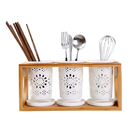 902b7b029 3 Slots Flatware Organizer Caddy w  Base Ceramic Spoon Fork Draining Holder  Chopsticks Draining Stand