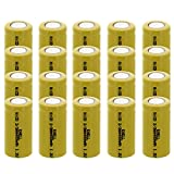 20x Exell 2/3AA 1.2V 400mAh NiCD Flat Top Rechargeable Batteries for meters, radios, hybrid automobiles, high power static applications (Telecoms, UPS and Smart grid), radio controlled devices