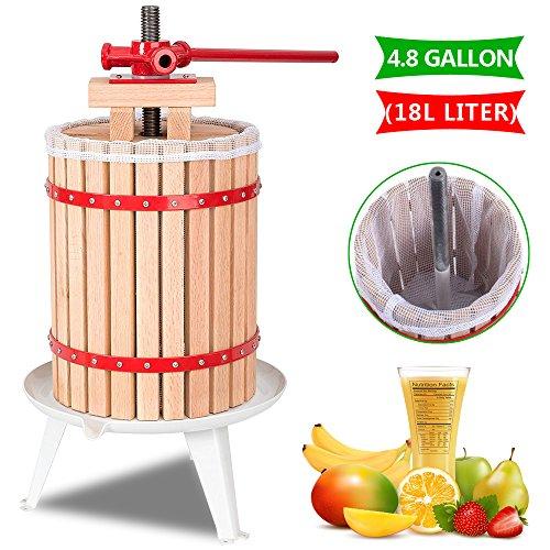 Crazyworld 4.8-Gallon/18-Litre Oak Fruit & Wine Press Cider Apple Grape Crusher Juice Maker Tool Wood, Cider Apple Grape Crusher Juice Maker Tool, Upgraded Version Oak Wood Basket for Orchard Kitchen