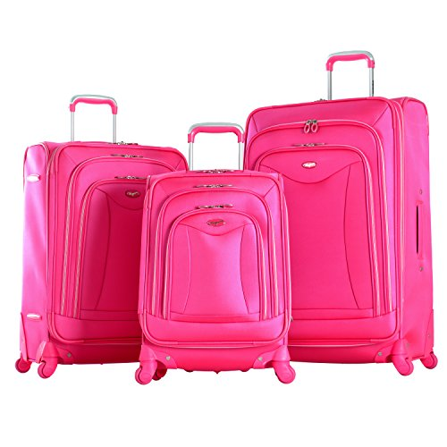 Olympia Luxe 3 Piece Expandable Spinner Luggage Set, Hotpink